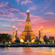 Wat Arun Night View Temple In Bangkok Art Print
