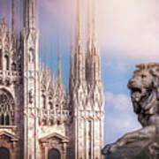 Watching Over The Duomo Milan Italy  Art Print