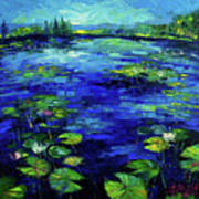 Water Lilies Story Impressionistic Impasto Palette Knife Oil Painting Mona Edulesco Art Print