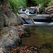 Water Stream On The River With Small Waterfalls Art Print