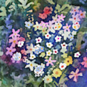 Watercolor - Alpine Wildflower Design Art Print