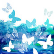 Watercolor Blue Background With Art Print