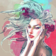 Watercolor Fashion Illustration With A Art Print