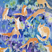 Watercolor - Fox And Firefly Design Art Print