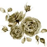 Watercolor Monochrome Rose Bouquet Art Print