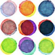 Watercolor Painted Circles Various Art Print