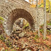 Waterfall Bridge, Autumn, Acadia Art Print
