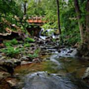 Waterfall With Wooden Bridge Art Print