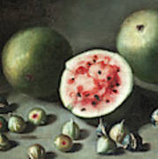 Watermelons And Figs On A Stone Ledge  Art Print