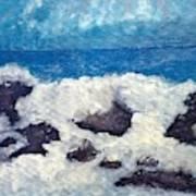 Wave Over Rocks Art Print