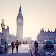 Westminster Bridge At Sunset, London, Uk Art Print
