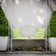 White Bench Made Of Iron With Two Green Bushes On The Side Art Print