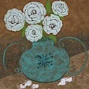 White Roses In Teal Vase Art Print