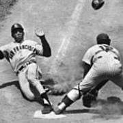 Willie Mays Sliding Into Home Plate Art Print