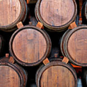 Wine Barrels Stacked Inside Winery Art Print