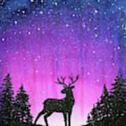 Winter Forest Galaxy Reindeer Art Print