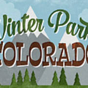Winter Park Colorado Retro Mountains Art Print
