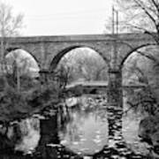 Wissahickon Creek - Reading Viaduct In Black And White Art Print