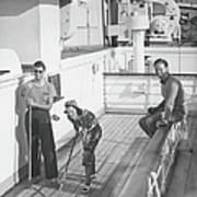 Woman And Two Men On Cruiser Deck, B&w Art Print