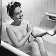 Woman Bathing, B&w, Portrait Art Print