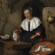 Woman Cleaning Fish Art Print