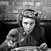 Woman Eating Spaghetti In Restaurant 5 Art Print