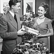 Woman Giving Gift To Man, B&w Art Print