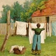 Woman Hanging Up Washing Art Print