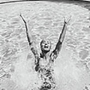Woman Having Fun In Swimming Pool Art Print