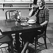 Woman In Fancy Hat Eating Breakfast In Art Print