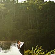 Woman In Infinity Pool At Sunrise. Bali Art Print