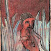 Woman In Reeds Art Print