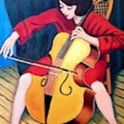 Woman Playing Cello - Bereny Robert Study Art Print