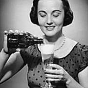 Woman Pouring Alcoholic Beverage Art Print