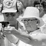 Woman Practicing Firing A Gun Art Print