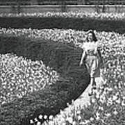 Woman Walking On Flowerbed, B&w Art Print