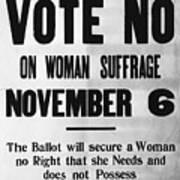 Womans Anti-suffrage Association Poster Art Print