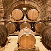 Wooden Barrels In Wine Cellar Art Print