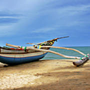 Wooden Catamaran By The Sea Shore Art Print