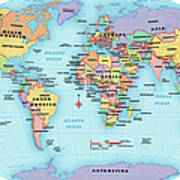 World Map, Continent And Country Labels Art Print