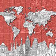 World Map Landmarks Skyline 3 Art Print