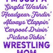 Wrestling Singlet Washin Mom Purple Gift Dark Art Print