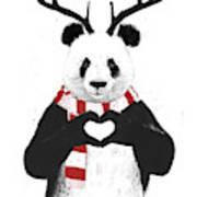 Xmas panda  Art Print