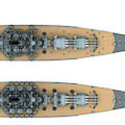 Yamato Class Battleships Top View Art Print