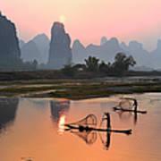 Yangshuo Li River At Sunset Art Print