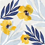 Yellow And Navy 1- Floral Art By Linda Woods Art Print
