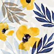 Yellow And Navy 3- Floral Art By Linda Woods Art Print