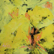 Yellow Blooms Coral Accents Art Print