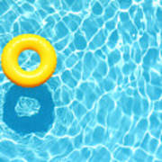 Yellow Pool Float Ring Floating Art Print