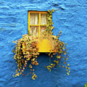 Yellow Window On Bright Blue Wall & Art Print